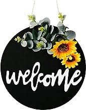 Welkom Deur Teken Houten Groen Zonnebloem Boog Krans Deur Decoratie Hanger voor Boerderij Veranda Home Decor