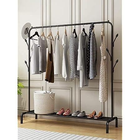 EKRON Metal Multifunctional Garment Stand Cloth Rack Freestanding Storage Organizer with Bottom Shelves Single Pole Coat Hanger (Black, 150 x 110 x 40cm)