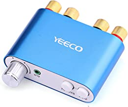 Yeeco Mini Bluetooth Power Amplifier 50Wx2 DC 9V-24V Dual Channel Wireless Audio Receiver 12V 5A Hi-Fi Digital Amplifier DC Adapter with AUX/USB/Bluetooth Input - Blue