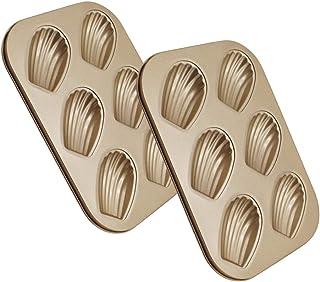 WasonD 2 Pièces 6 Cavités Moule à Madeleines Forme Spécifique de Coquille Métallique Antiadhésif Plaques à Pâtisserie pour...