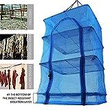 CRZJ Rejilla de Secado Plegable Fish Mesh 4 Capas Fish Net Net legumbres secas Que cuelgan de Hierbas Tendedero con Cremalleras,40 * 40 * 68cm