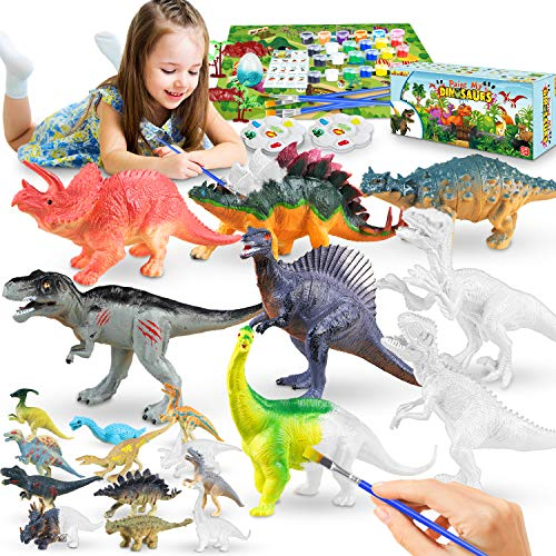 Kids Crafts Dinosaur Toys Paintings Kit, Arts and Crafts for Kids Age 5 6 7 8 9 10 11 12, Craft Supplies Party Favors DIY Gifts Creative Activity for Boys and Girls