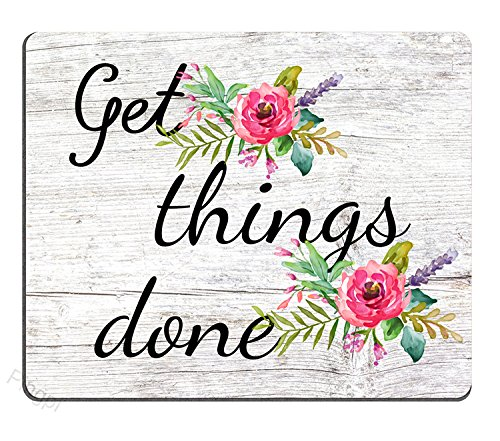 Floral Mouse Pad Motiavation Quote Get Things Done Neoprene Inspirational Quote Mousepad Office Space Decor Home Office Computer Accessories Mousepads Watercolor Vintage Flower Design