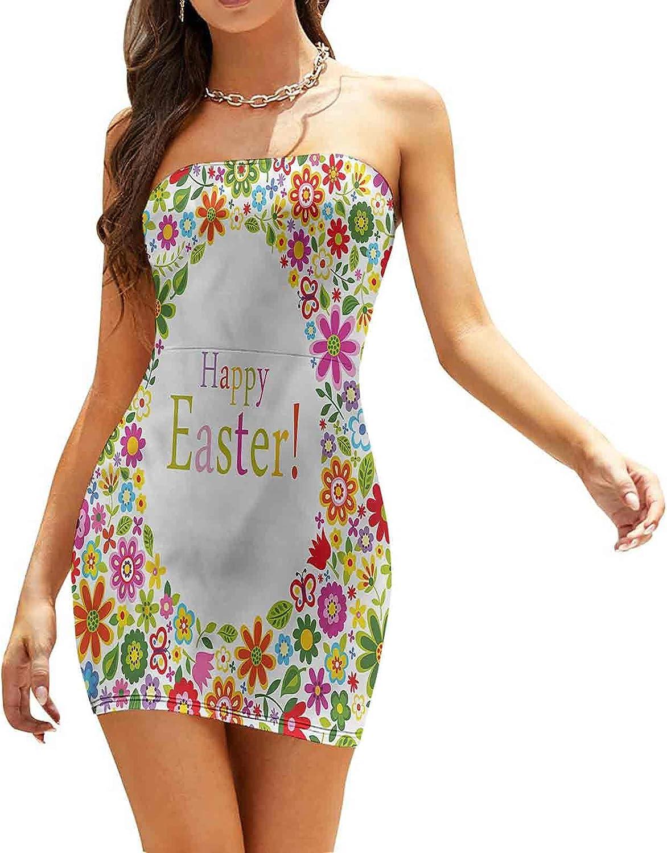 SUZM Women's Strapless Bodycon Club Dress Doodle Bunny Holding Flower Dresses