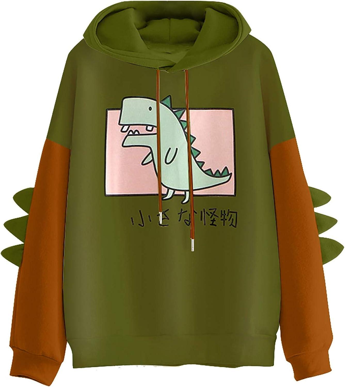 Fashion Sweatshirt for Womens Casual Hoodie Dinosaur Print Long Sleeve Pullover Kawaii Jumper Comfy Coat Tops
