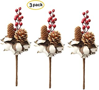 """3 Pack Cotton Stems with Pine Cones and Artificial Berries 13"""" Farmhouse Style Floral Display Filler for Wedding Christmas Halloween Party Decoration (White Cotton)"""