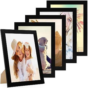 Ws-383-344 cadre photo//cadre photo bois massif classique anthracite avec goldkante