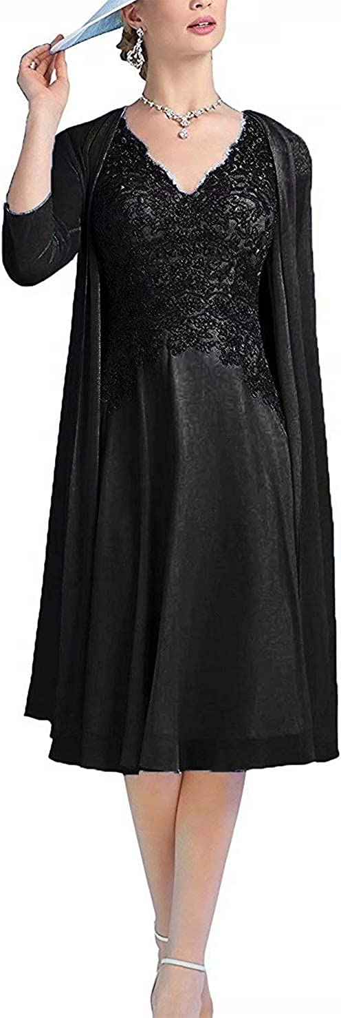 Women's Lace Applique Mother of The Bride Groom Dresses with Jacket Chiffon Evening Gowns