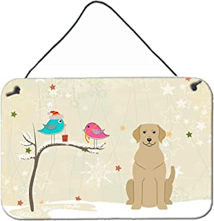 """Caroline's Treasures BB2527DS812 Christmas Presents Between Friends Yellow Labrador Wall or Door Hanging Prints, 8"""" x 12"""",..."""