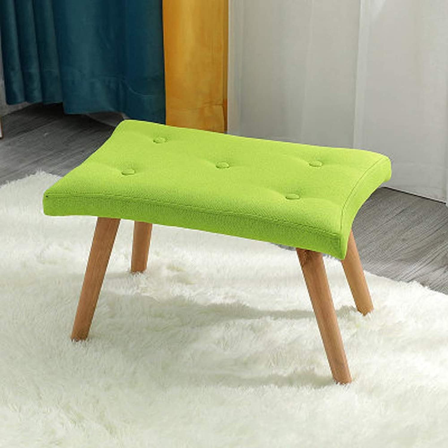 AINIYF Footstool Solid Wood Stool Living Room Creative Bench Leisure Stool Stool Home Adult shoes Bench Sofa Stool Fabric Pouf Removable Bedroom Stool 21.6x14.2x14.2inches (color   Green)