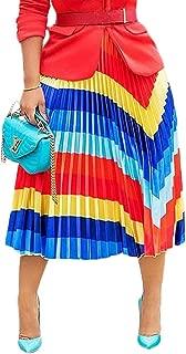 Adogirl Women Color Block Graffiti African Letter Print Pleated A Line Swing Maxi Long Skirt Midi Dress