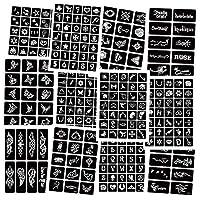 283個の一時的なヘナタトゥーステンシルキット、12枚のエアブラシタトゥーステンシルヘナステンシル取り外し可能なタトゥーステッカーボディーアートペインティング女性/男性用