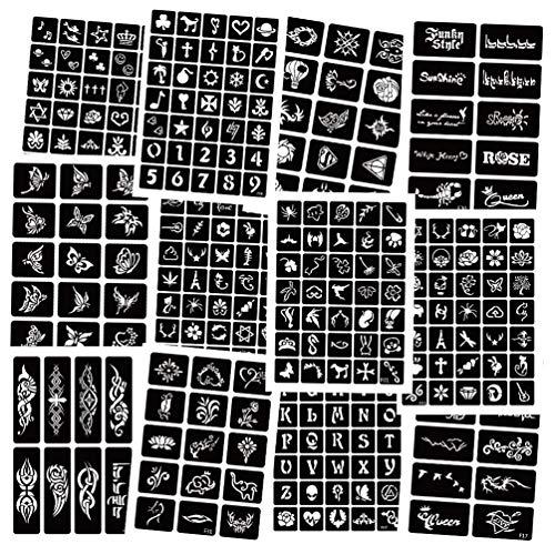 Kit de plantillas Henna Tatuajes Temporales 283 piezas, plantillas de tatuaje con aerógrafo de 12 hojas Plantillas henna Pegatinas tatuaje extraíbles Pintura arte corporal