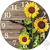 Britimes Round Wall Clock, Silent Non Ticking Clock 10 Inch, Decor for Bathroom, Bedroom, Kitchen, Office or School Sunflowers Wooden