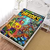 LCGGDB Plants Vs Zombies Heroes Bedding Fitted Sheets, Soft Decorative Fabric Bedding All-Round Elastic Pocket,Twin XL - 47x78 inches,Gift for Teenagers and Adults