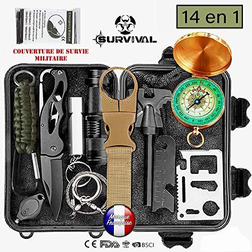 Kit de supervivencia de emergencia multiherramientas, 14en1 equipo de ataque y defensa para acampada, senderismo, exteriores, viajes, caza, orientación y más