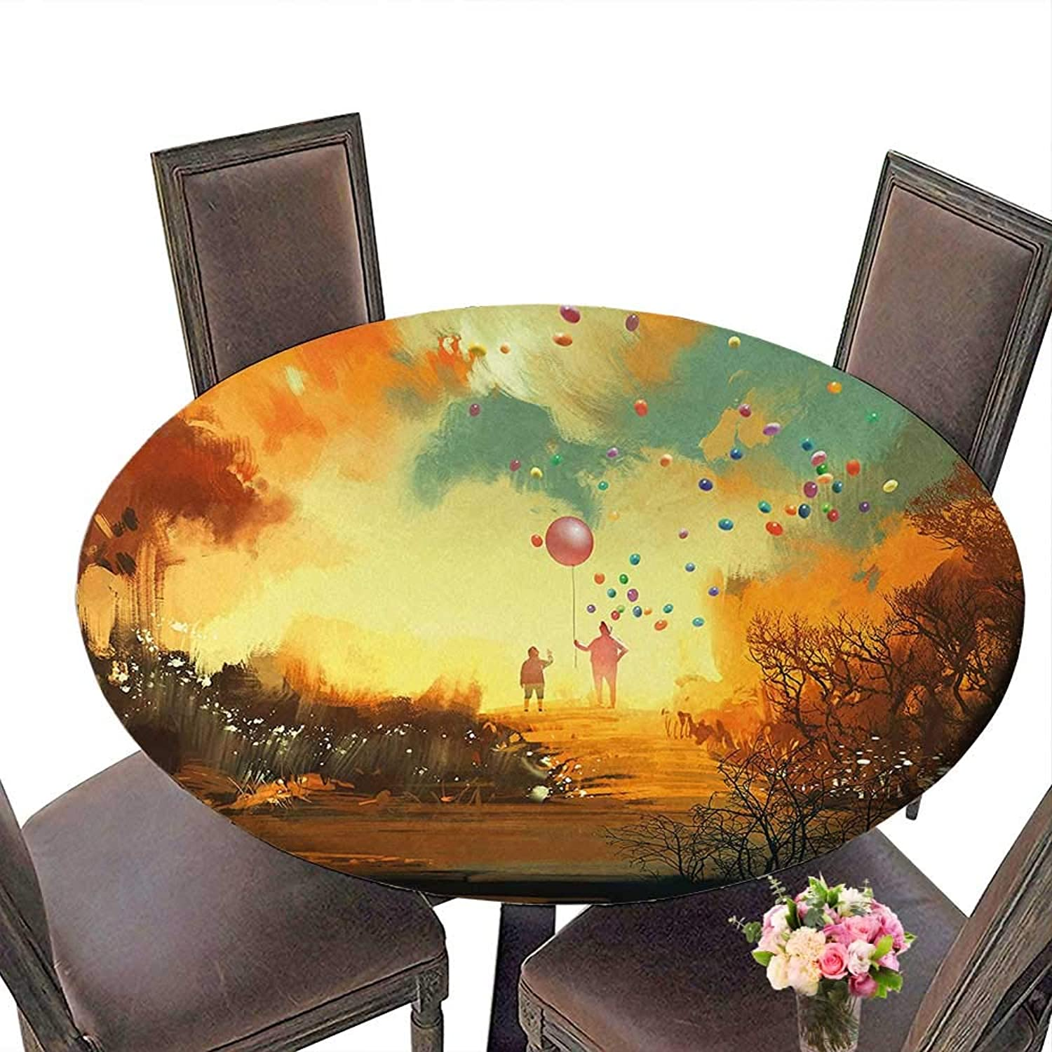 RoundTable Cloth for Foot Table in Washable Polyester(Elastic Edge) suitable for all occasions, (72.5 round)Fantasy Silhouette of Little Boy and Wizard with Balloons Forest Print Marigold Yellow Choc