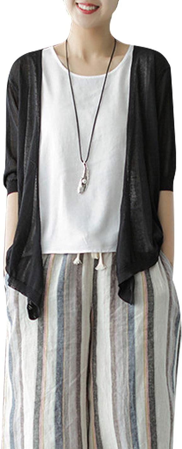 PUWEI Womens Half Sleeve Open Front Linen Knit Cardigan Asymmetrical Cover Ups