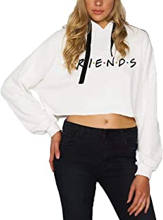 Womens Friends TV Show Short Hoodies Long Sleeve Graphic Sweatshirt Top