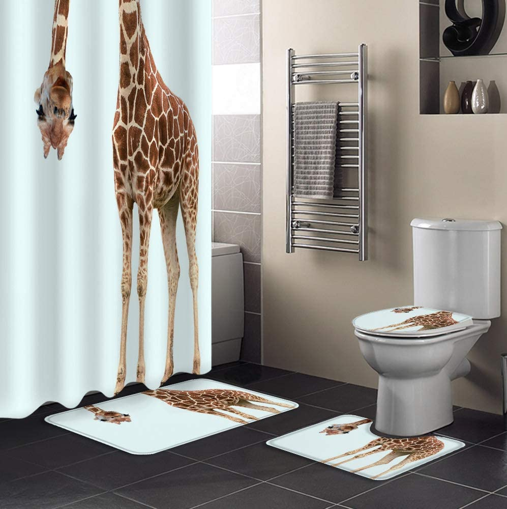 Fangship Spasm price 4 Piece Shower Curtain Sets Brow White Giraffe with Wil Don't miss the campaign