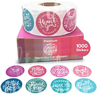 Howcrafts Thank You Stickers Roll of 1000, 8 Designs, 1.5 Inch   Thank You Sticker Roll Boutique Supplies for Business Packaging   Thank You Stickers 1000 for Bubble Mailers & Bags…