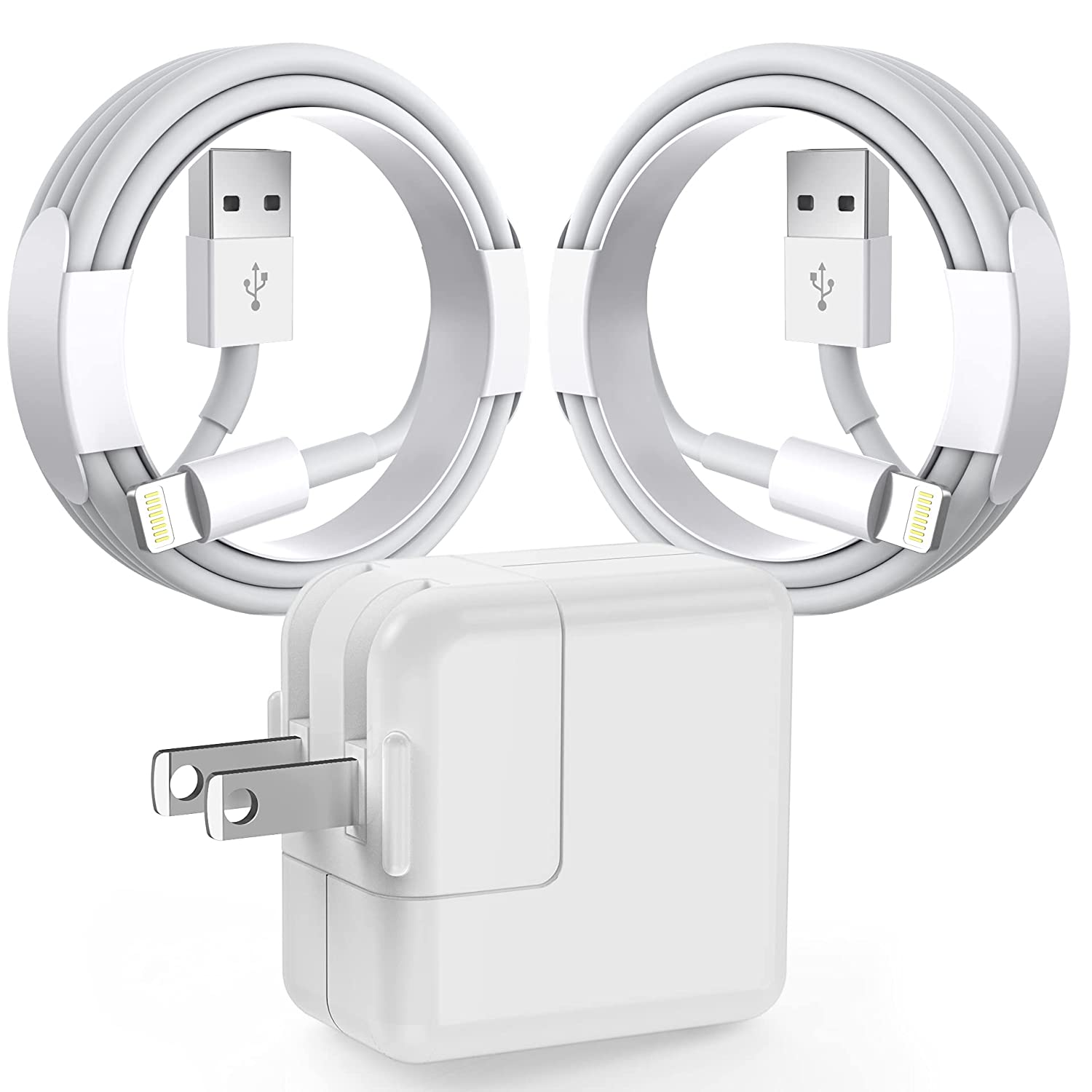 iPad Charger iPhone Charger [Apple MFi Certified] 12W Fast Charging USB Wall Charger Foldable Portable Travel Plug with 2 Pack 6FT Lightning Cable Cord Compatible with iPhone, iPad, Airpods and More