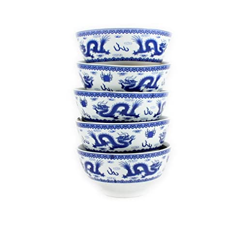 Set of 6 small Oriental Chinese Porcelain Decorated Blue and White Rice Bowls MA by Newquay-Bonsai