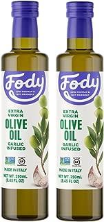 Fody Foods Vegan Extra Virgin Olive Oil Pack | Italian Made Garlic Infused | Low FODMAP Certified | Gut Friendly | IBS Friendly Kitchen Staple | Gluten Free Non GMO | 2 Bottles, 250mL