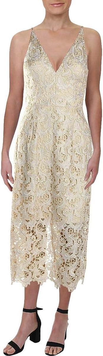 Dress the Population Women's Aurora Lace Plunging Spaghetti Strap Midi Sheath Dress, Cream, l