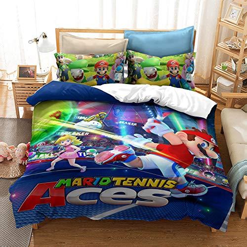 CQLXZ - Funda de edredón 3D Super Mario, Anime Cartoon Ropa de cama para niños, suave de juegos de sábanas, 100% poliéster suave y transpirable, para cama infantil (200 x 200 cm)