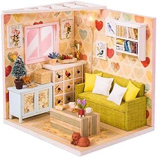 XYZMDJ Miniatyr dockhus, kreativt dockhus miniatyr gör-det-själv hus kit rum med möbler för romantisk