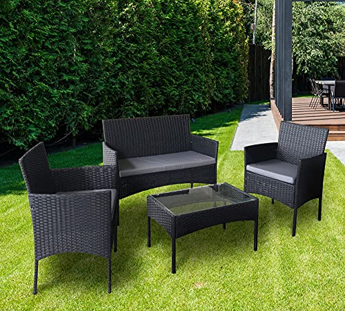 4pcs Rattan Outdoor Garden furniture sofa set with 2x Armchairs 1x Double Sofa & 1 table for indoor & outdoor (Roger) (Black)