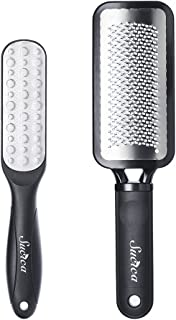 Sucica 2PCS Foot File, Premium Stainless Steel Foot Rasp File Callus Remover Professional Foot Scrubber - Colossal Foot Rasp and Dual Sided Foot File, Black