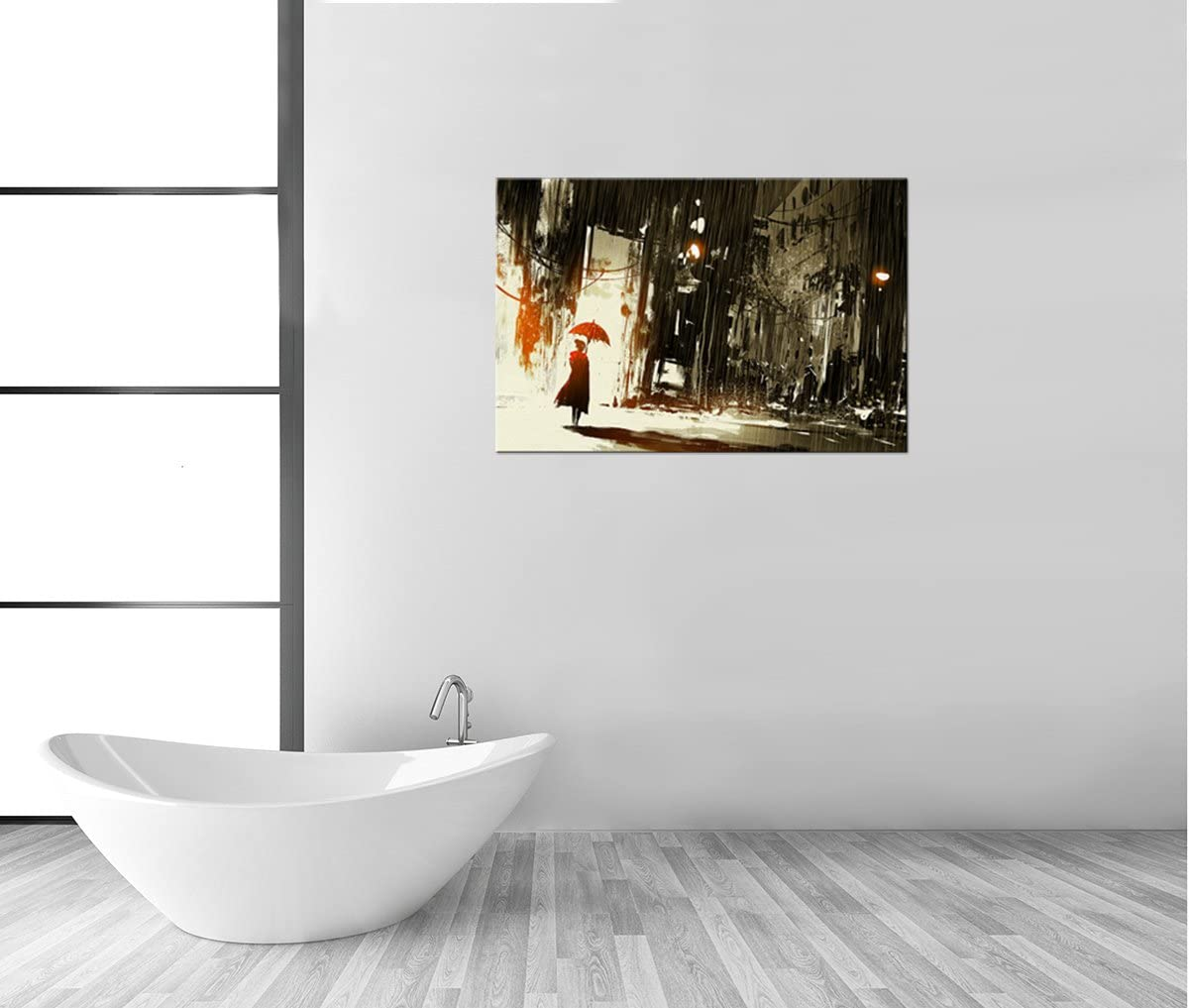 Elegant Woman with Cloud sheltering Herself from The rain with Umbrella Large Wall Art,032665 cat Gifts,12Wx18H