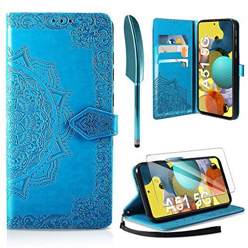 AROYI Funda Compatible con Samsung Galaxy A51 5G y Protector de Pantalla, Funda Libro Protectora Piel PU Soporte Plegable Ranura para Tarjeta Magnético Cuero Flip Carcasa Case, Azul