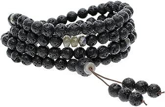 AmorWing Mens 108 Mala Beads Lava Rock Stone Prayer Necklace