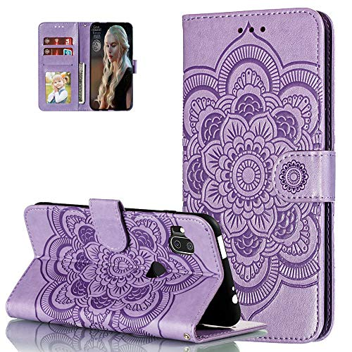 Asdsinfor Moto One Hyper Hülle Volle Stylische Advanced Embossing Wallet Hülle Credit Card Slot with Stand for PU Leather Shockproof Flip Magnetic Hülle for Motorola Moto One Hyper, LD: Violett