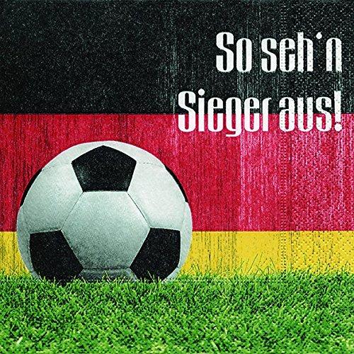 Lot de 2 Serviettes en papier / 40 Piece - 3 plis - 33 x 33 cm Fêtes Thème Football (So seh´n Sieger aus)