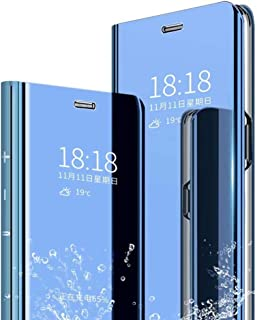 Minwu Case For Huawei P Smart Z,Clear Standing Translucent Smart Metal Electroplating Technology [Mirror Touch Flip] Full-...