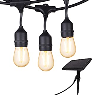 UL Listed 28FT Solar String Light Vintage S14 Hanging Patio Lights with 12 Shatterproof Dimmable LED Bulbs for Backyard Bistro Pergola Deck Gazebo Tent Garden Decoration, Warm White