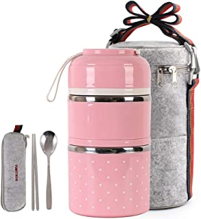 Cute Lunch Box Insulated Lunch Bag Bento Box Food Container Storage Boxes With Cutlery For Adults Office Camping,2 tier pink …