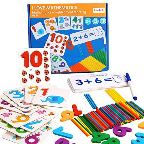 HWD 木製のスペル英語単語と数学学習ゲームのおもちゃ ,数字 ペグボード並べ替えABCDブロック マッチングゲームモンテッソーリジグソーパズル知育学習教育玩具ギフト用 幼児ベビーキッズ (数学)