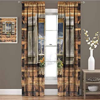 GUUVOR Shutters Blackout Curtain View from Mountain Hut 2 Panel Sets W96 x L84 Inch