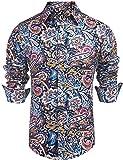 Daupanzees Mens Paisley Dress Shirt Fashion Noble Long Sleeve Vintage Italian Button-up Print Luxury Casual Button Down Shirts (Blue XL)