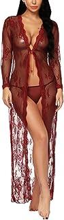 BESDEL Frauen Sexy Dessous Robe Durchsichtig Nachtwäsche Langes Spitzenkleid Kimono Cardigan