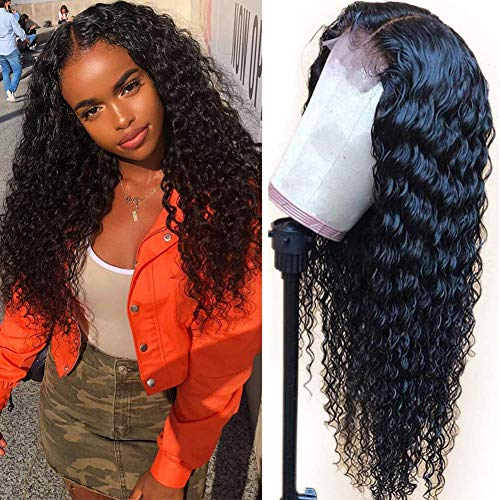 Sdamey T-Part Lace Front Wigs Deep wave Wig Brazilian Virgin Human Hair Wigs 4X1 Lace Closure Wig For Black Women 150% Density Deep Curly Pre Plucked with Baby Hair Natural Color(16 Inch, T-Part Wig)