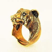Men's Big Bear Head Ring Animal Ring Men Bronze Ring