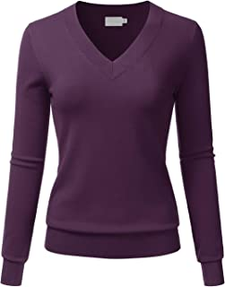 LALABEE Women's V-Neck Long Sleeve Soft Stretch Pullover Knit Top Sweater (S~XL)