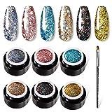 VOXURY 6 Colori Glitter Smalto Semipermente per Unghie Gel + Penna Per Pittura, Soak Off UV LED Super Platinum Nail Gel Smalto Per Unghie Manicure Nail Art Kit 5ml
