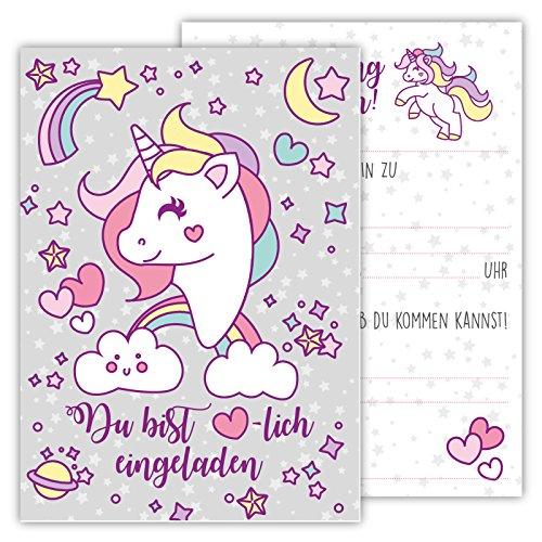 Divertenti biglietti di invito per compleanno per bambini per ragazzi o ragazze (unicorno, 12 pezzi in set di cartoline)